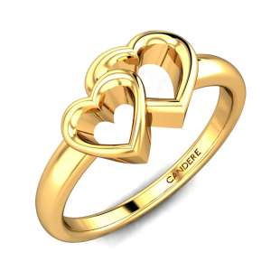Yutika Hearts Gold Ring
